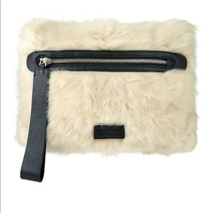 Marc Jacobs Square Lamb Fur Leather Wristlet